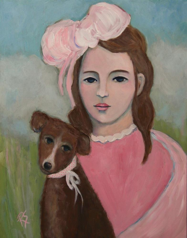 """Ava and Her New Puppy"" original fine art by Roberta Schmidt ArtcyLucy"