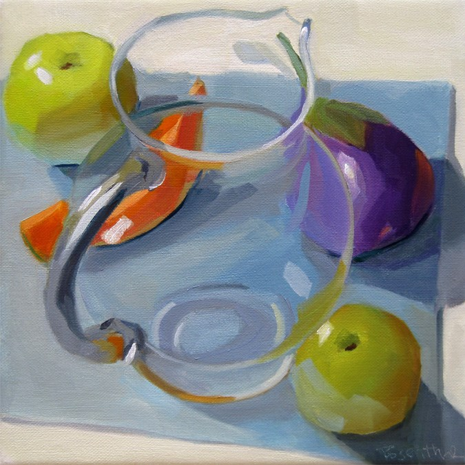 """""""Pitcher and Fruit"""" original fine art by Robin Rosenthal"""