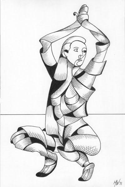 """Mark Adam Webster - Ximon 12.15 - Abstract Futurist Figurative Ink Drawing"" original fine art by Mark Webster"