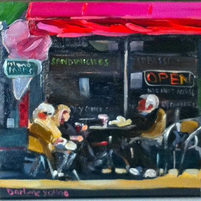 """Coffee In the Sunshine,  oil on canvasboard, 6x6"" original fine art by Darlene Young"