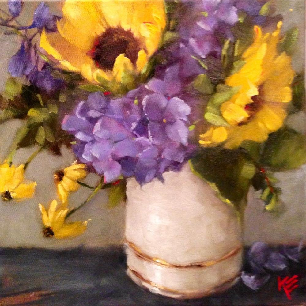 """Sunflowers & Hydrangeas"" original fine art by Krista Eaton"