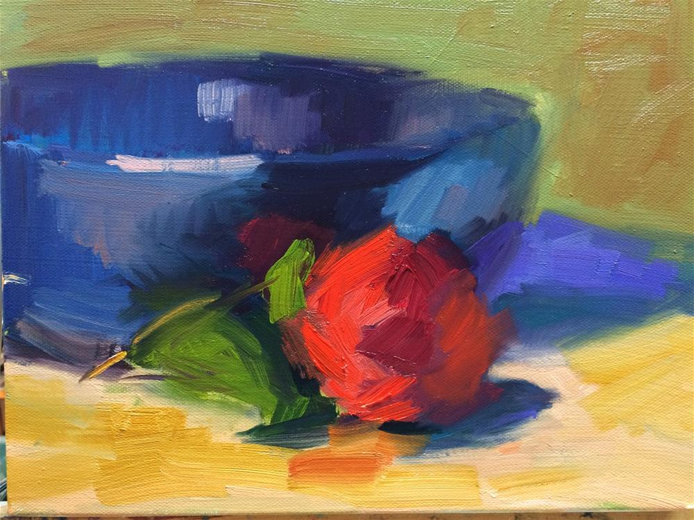 """Red Flower and Bowl"" original fine art by Naomi Bautista"