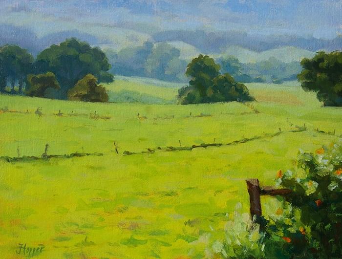 """""""Morning Field, Kula"""" original fine art by Joanne Hopper"""