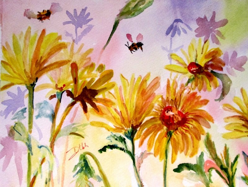 """""""Yellow Daisies and Bee"""" original fine art by Delilah Smith"""