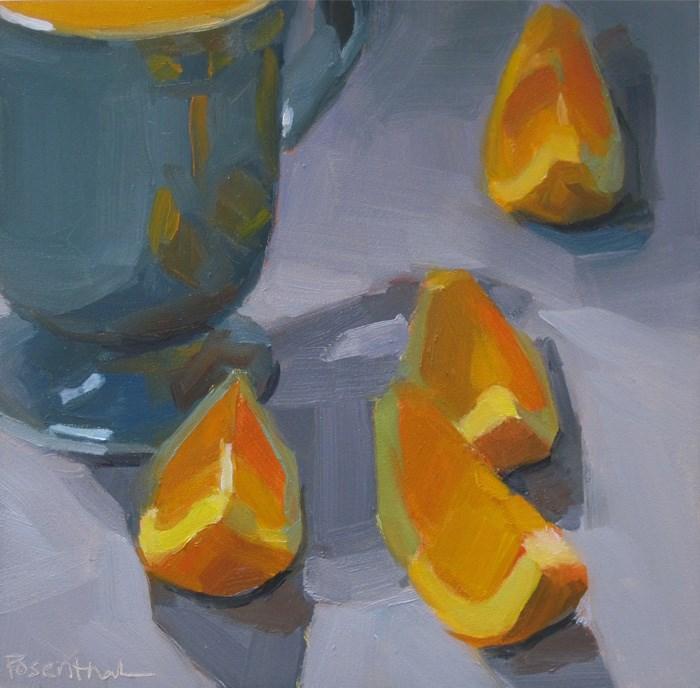 """""""Orange Slices on Blue"""" original fine art by Robin Rosenthal"""