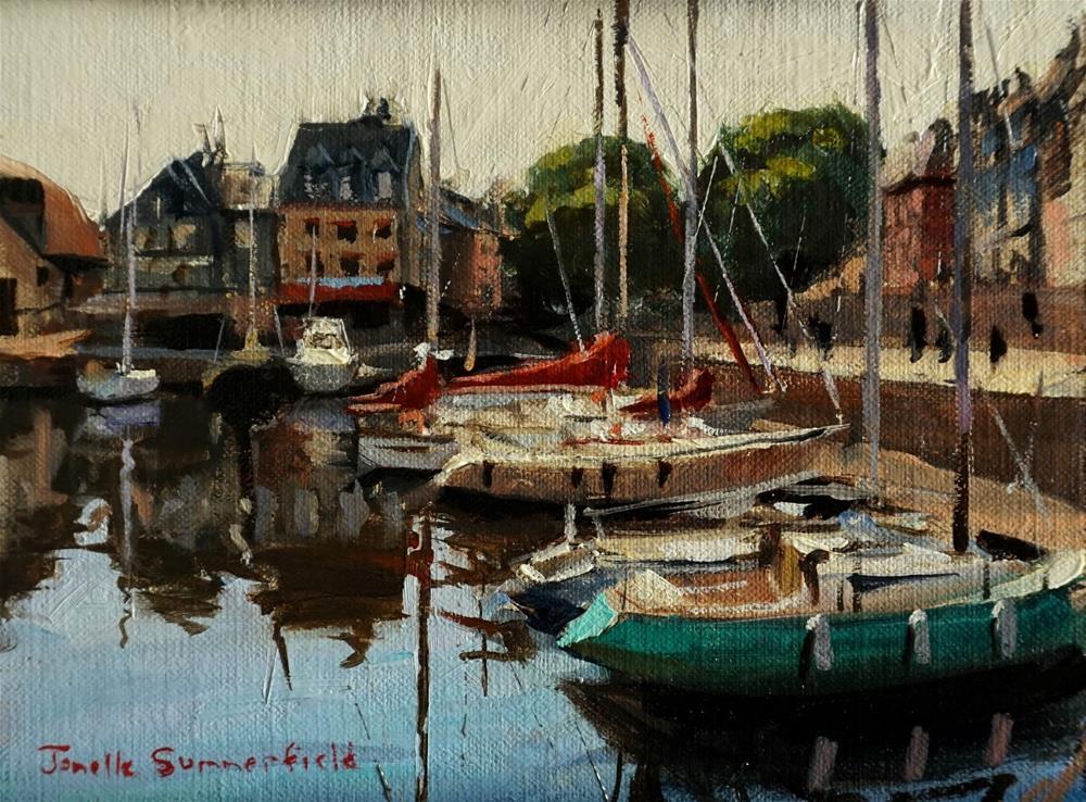 """""""Docked in Honfleur II Study"""" original fine art by Jonelle Summerfield"""