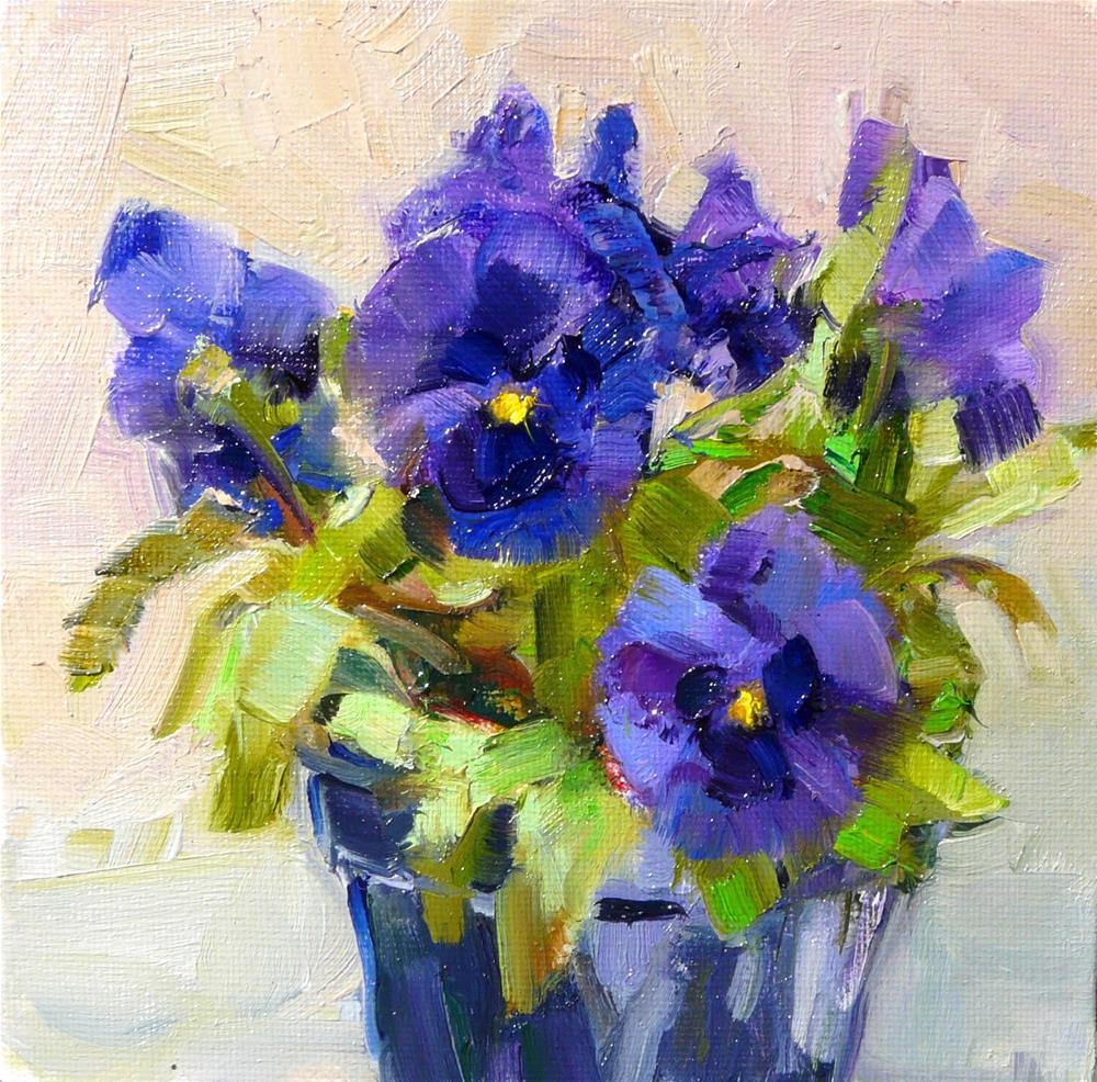 """""""April Purple Pansy,still life,oil on canvas,6x6,price$200"""" original fine art by Joy Olney"""