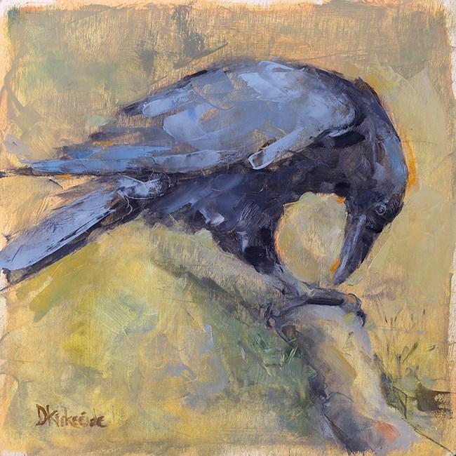 """Contemplation - Raven Painting - Deb Kirkeeide"" original fine art by Deb Kirkeeide"