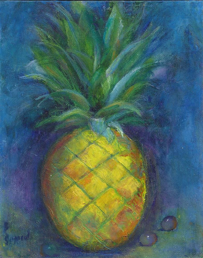 """""""Pineapple and Grapes"""" original fine art by Elizabeth Current"""