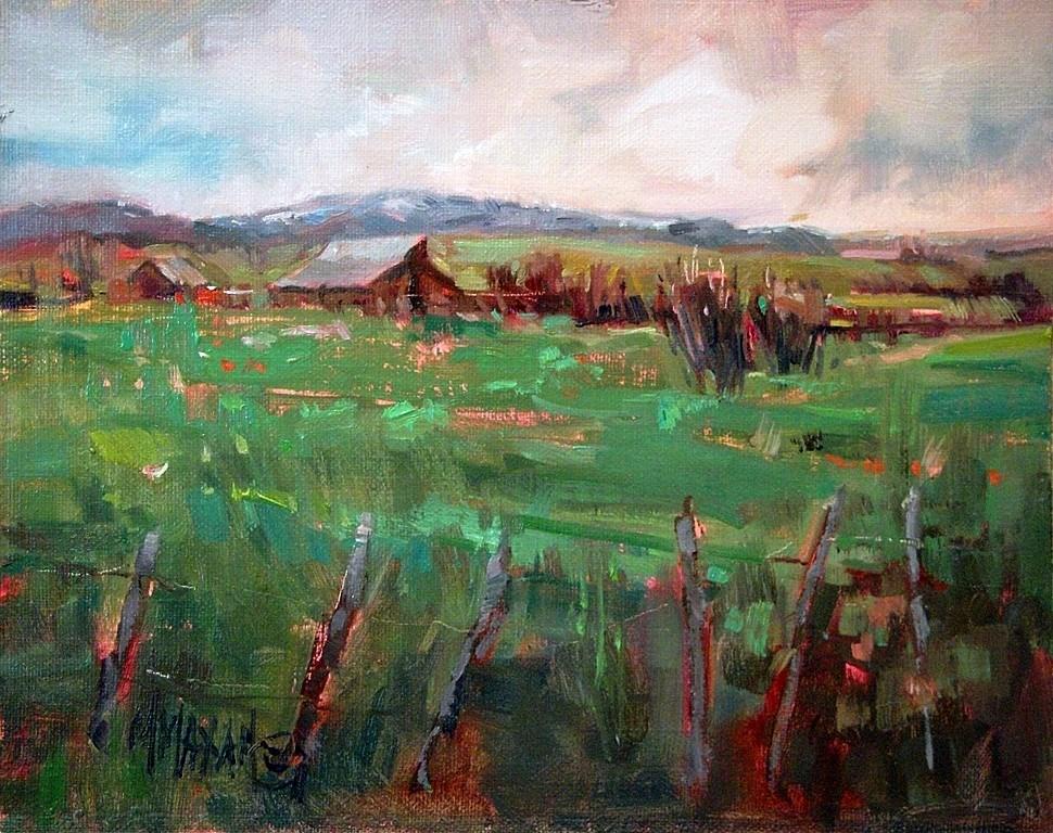 """Spring Greens"" original fine art by Mary Maxam"