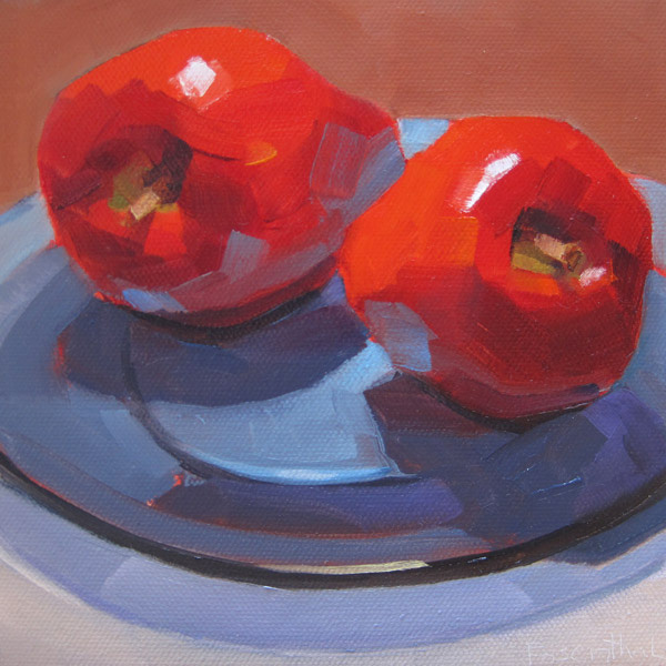 """Two Apples on Blue Glass Plate"" original fine art by Robin Rosenthal"