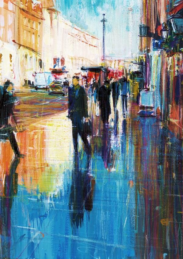 """After The Rain Towards Trafalgar Square"" original fine art by Adebanji Alade"