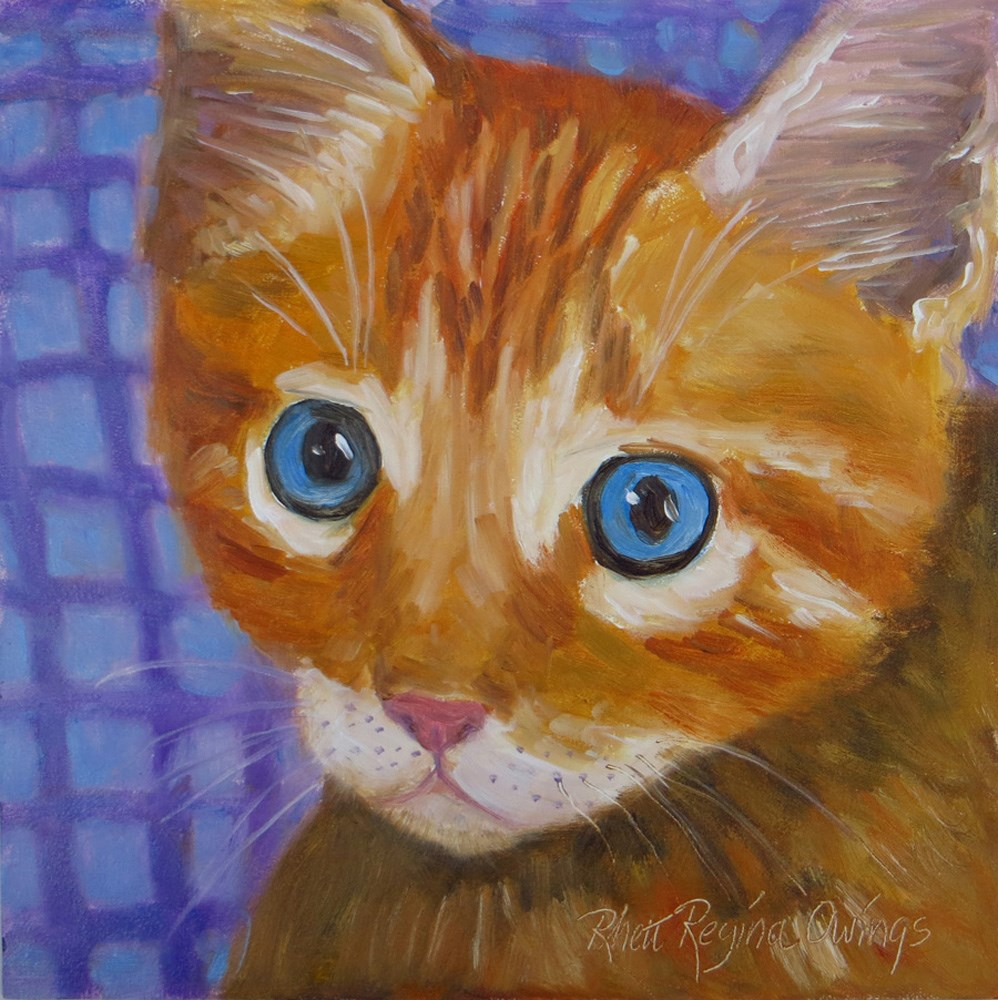 """Orange Kitty with Big Eyes"" original fine art by Rhett Regina Owings"