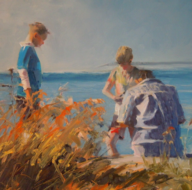 """Boys on the Beach  at Point no Point, Hansville Washington"" original fine art by Robin Weiss"