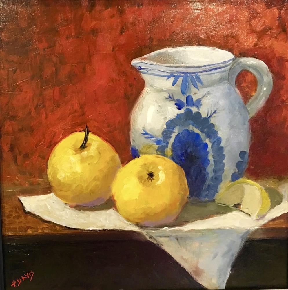 """Delft Vase with Apples"" original fine art by Phyllis Davis"