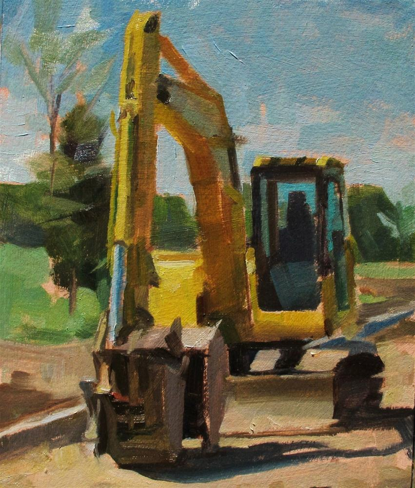 """Yellow Shovel Tractor"" original fine art by Taryn Day"