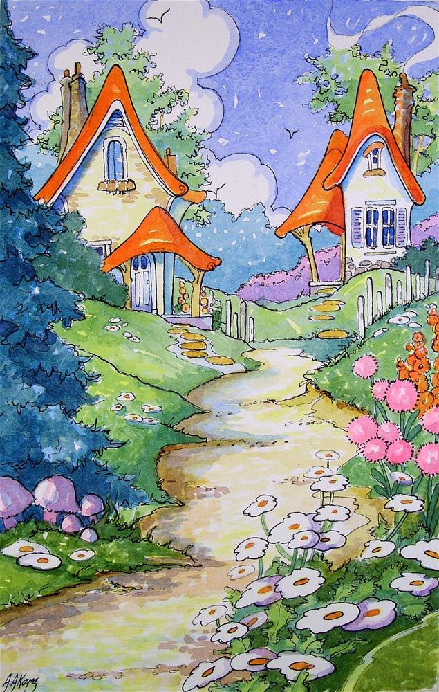 """""""Neighbors at Lane's End Storybook Cottage Series"""" original fine art by Alida Akers"""