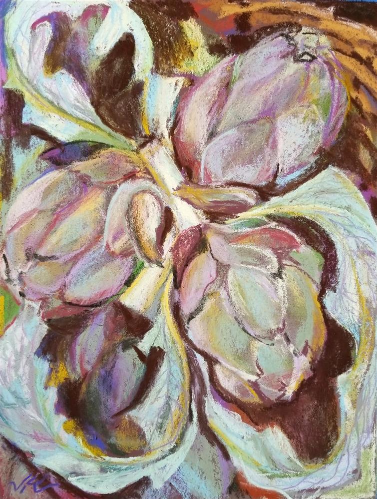 """""""Artichokes"""" original fine art by Jean Krueger"""