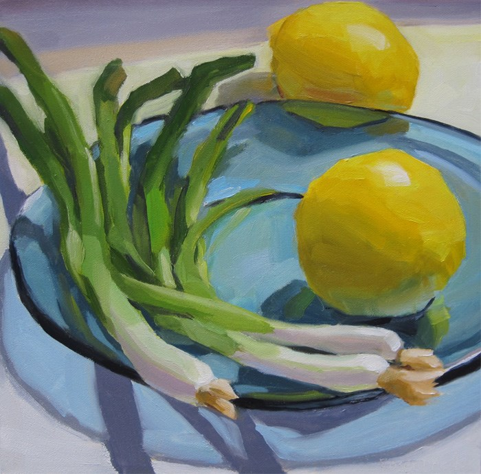 """Lemons and Scallions on Blue Plate"" original fine art by Robin Rosenthal"