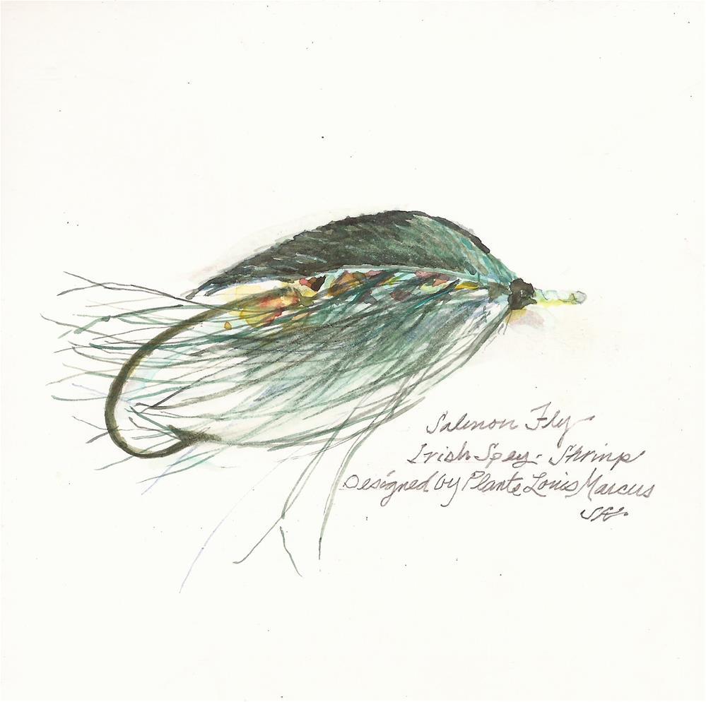 """""""Shrimp - Irish Spey"""" original fine art by Jean Krueger"""