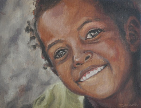 """""""Shining Smile-for The Hunger Project charity"""" original fine art by Tahirih Goffic"""