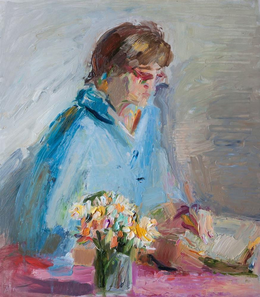 """Reading Woman"" original fine art by Anna Fine Art"