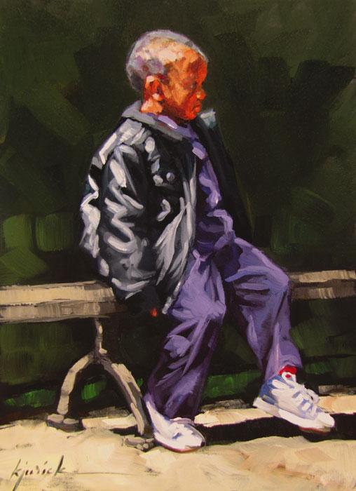 """Bench Warmer"" original fine art by Karin Jurick"