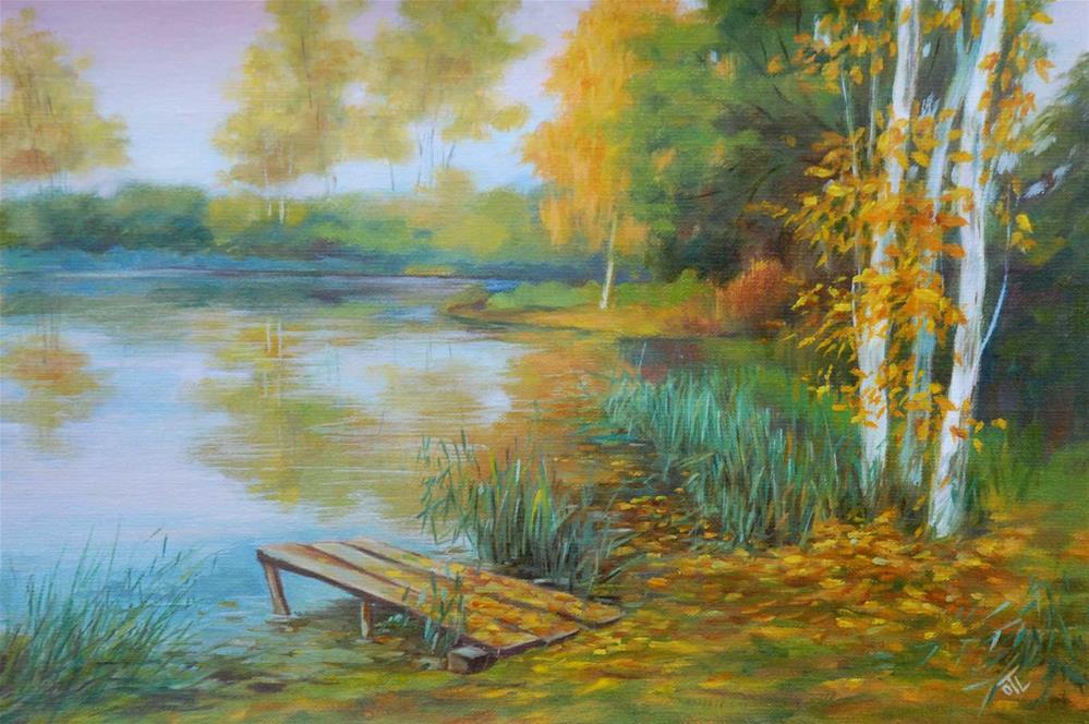 """Pond. Autumn"" original fine art by Olga Touboltseva-Lefort"