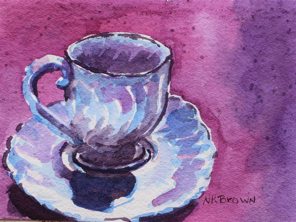 """Tea Cup"" original fine art by Nancy Brown"