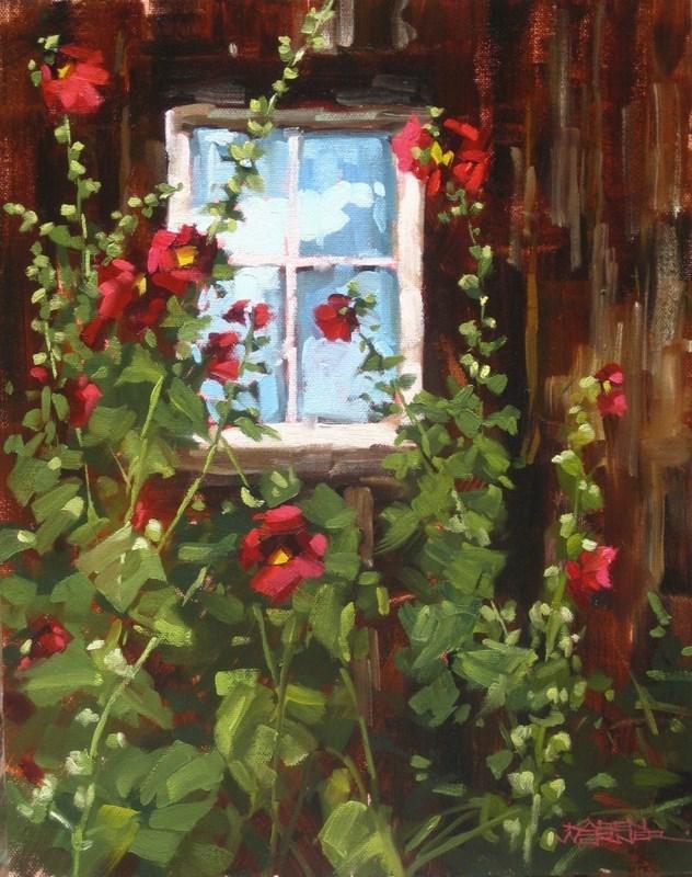"""""""Hollyhock Window"""" original fine art by Karen Werner"""