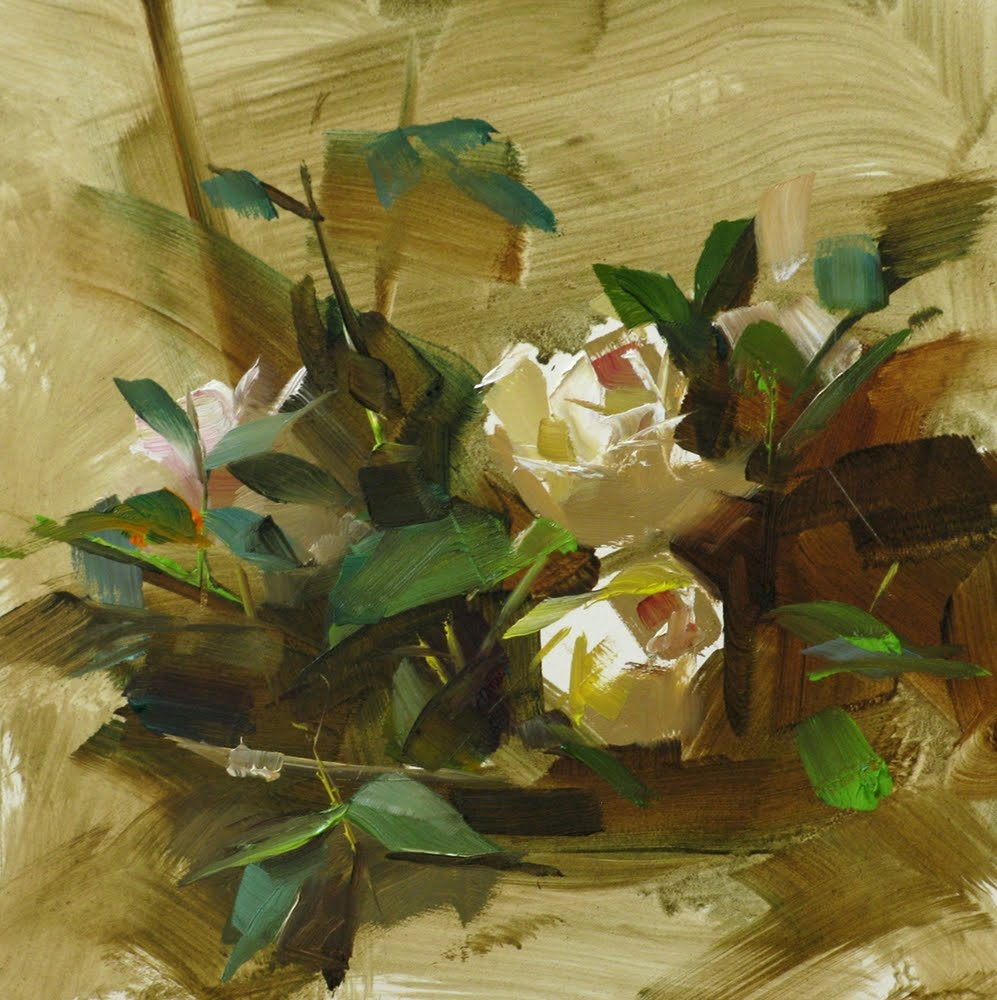 """Rose With Flowers"" original fine art by Qiang Huang"