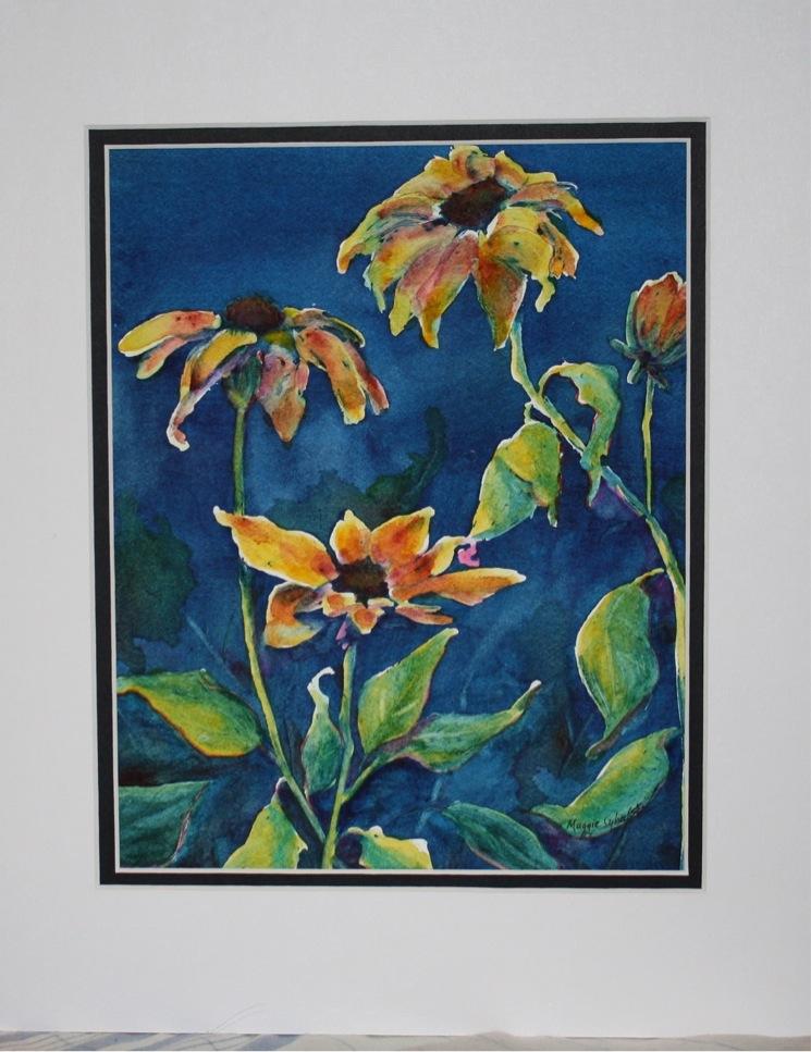 """Sunflowers"" original fine art by Maggie Flatley"