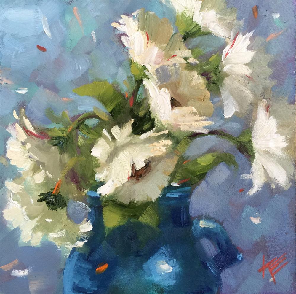 """Daisies on Blue"" original fine art by Krista Eaton"
