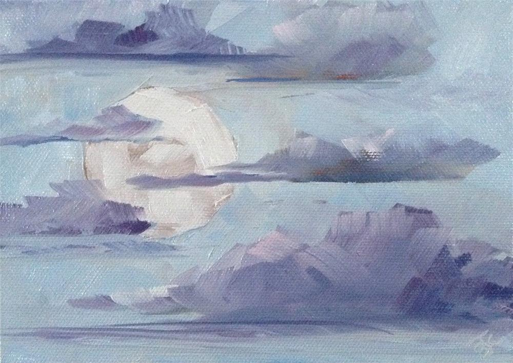 """Morning Moon"" original fine art by Bobbie Cook"