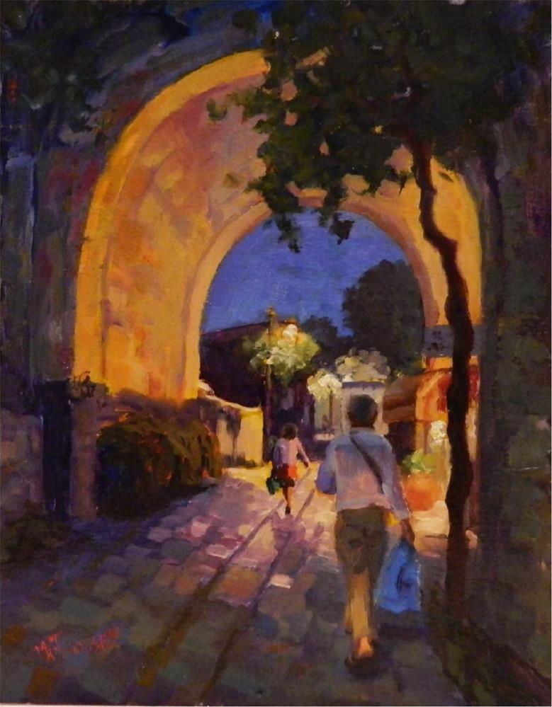 """""""Amalfi Coast Evening, 14x11, oil on linen, Amalfi, Ravello, Italian riviera, Italy, nocturnes"""" original fine art by Maryanne Jacobsen"""