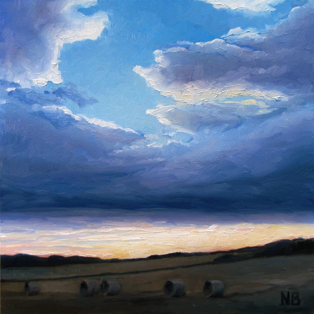 """Evening Round Bales"" original fine art by Nora Bergman"