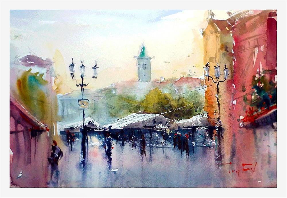 """""""Nice, flower market"""" original fine art by Jurij Frey"""