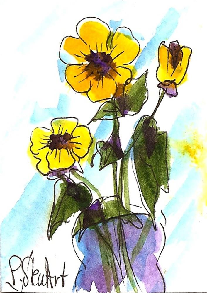 """""""ACEO 3 Yellow Flowers Watercolor and Pen, Naive Art, Original, not a print"""" original fine art by Penny Lee StewArt"""