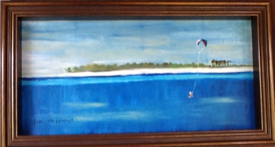 """VIEW OF SHELL ISLAND AND BOY WITH A KITE"" original fine art by Charlotte Bankhead Hedrick"