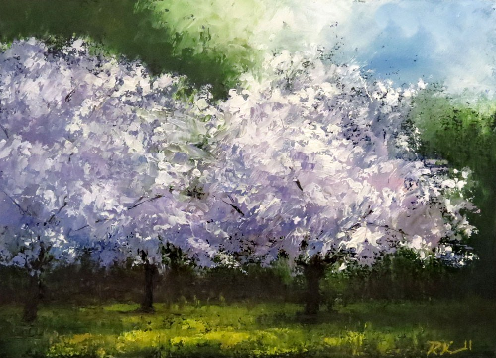 """Three Cherry Blossom Trees"" original fine art by Bob Kimball"