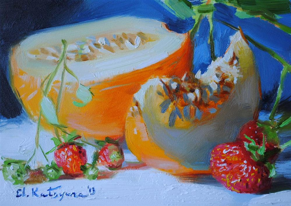 """Melon and Strawberries"" original fine art by Elena Katsyura"