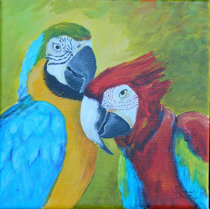 """Blue&Gold and Red Wing Macaws"" original fine art by Gloria Urban"