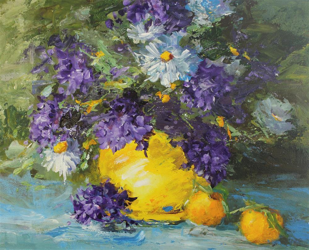 """Original lilac daisy orange acrylic impressionism painting"" original fine art by Alice Harpel"