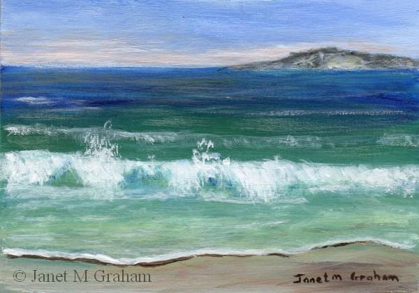"""""""Seascape 1 ACEO"""" original fine art by Janet Graham"""
