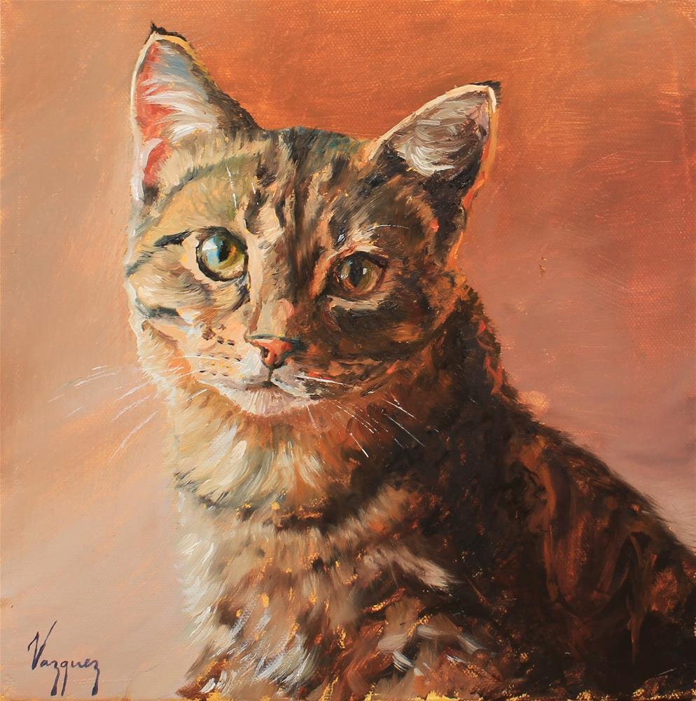 """""""Cat portrait"""" original fine art by Marco Vazquez"""