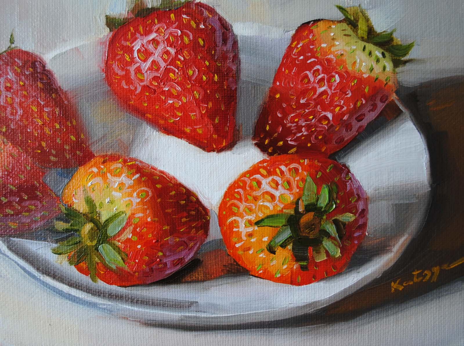 """""""Wonderberries"""" original fine art by Elena Katsyura"""