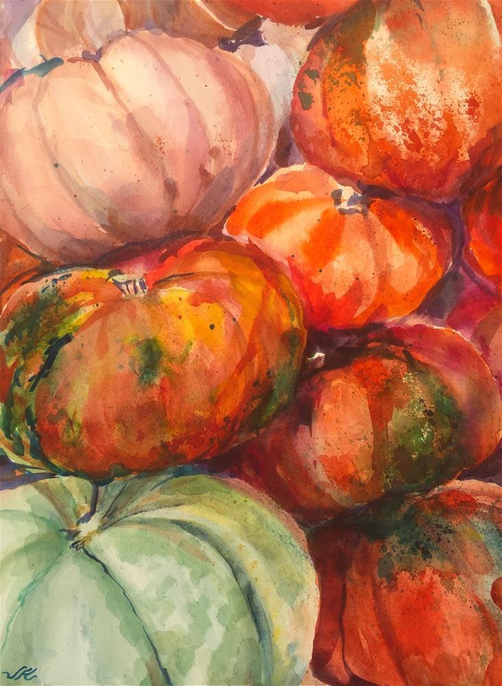 """""""Gourds and Pumpkins"""" original fine art by Jean Krueger"""