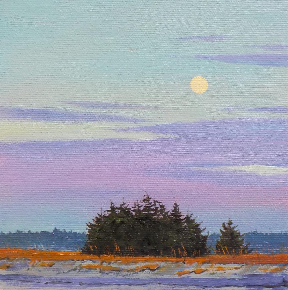 """Moon at the Beach"" original fine art by Carole Baker"