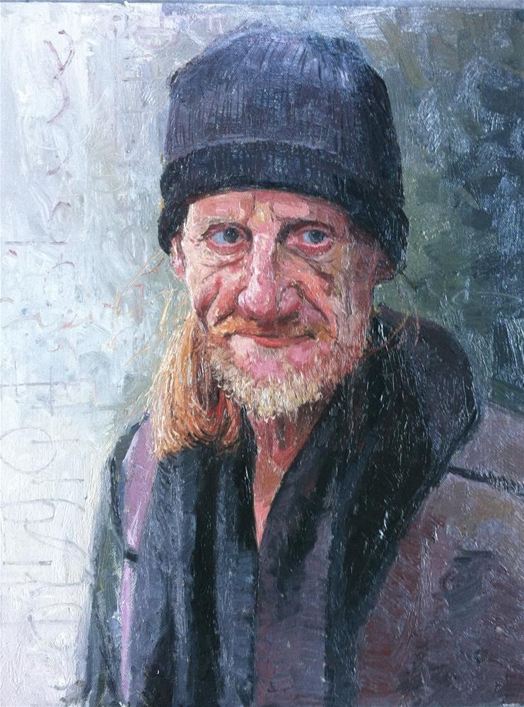 """""""The Face of Homelessness, Sloane Square"""" original fine art by Adebanji Alade"""