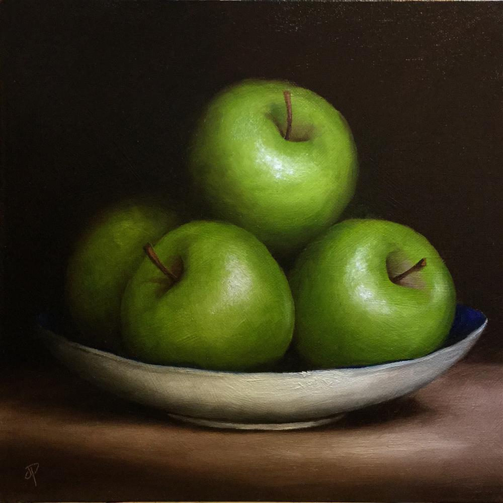 """Green Apple dish"" original fine art by Jane Palmer"